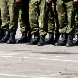 Closeup view of soldiers lined up in a row